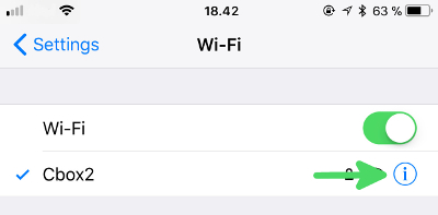 How to find your Router IP on iPhone - step3: Click the blue info icon on the right