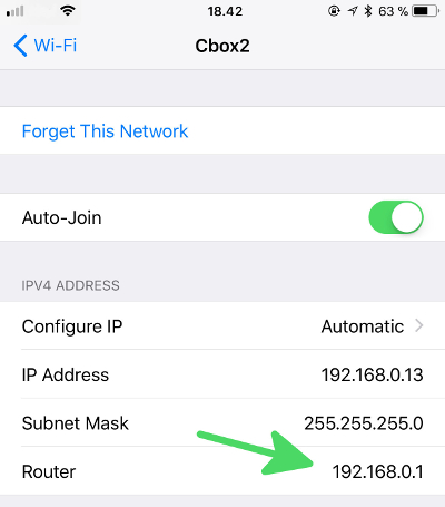 How to find your Router IP on iPhone - step4: Check the Gateway entry