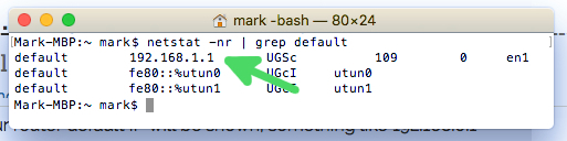 How to find your Router IP on macOS - step2: Type 'netstat -nr | grep default' into the terminal and click enter.